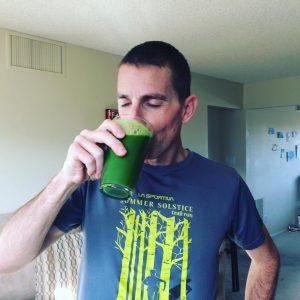 CJ drinking juice